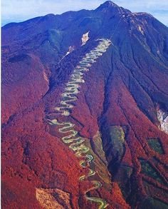 Japan's Mount Iwaki? 6.6 miles over 7%, plus an astonishing 60+ switchbacks on route to the summit. Incredible.