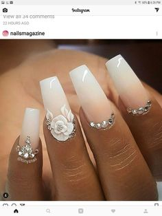 We offer you very modern ideas of 2018 Wedding Nail Designs that will become you. - makeup and nails for me - We offer you very modern ideas of 2018 Wedding Nail Designs that will become you. - makeup and nails for me - Cute Acrylic Nails, Acrylic Nail Designs, Cute Nails, Pretty Nails, Nail Art Designs, 3d Nails Art, Acrylic Nails With Design, Wedding Acrylic Nails, Bride Nails