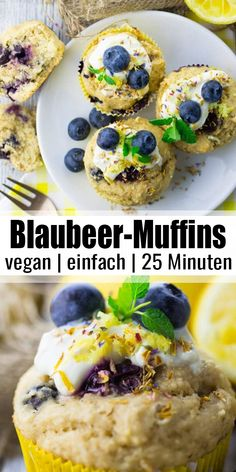 Do you fancy delicious vegan baking recipes? How about vegan blueberry muffins, for example. These muffins are the perfect brunch recipe, but they're also great for a snack or dessert. More vegetarian recipes and vegan recipes on veganheaven. Vegan Baking Recipes, Vegan Breakfast Recipes, Delicious Vegan Recipes, Vegan Dessert Recipes, Whole Food Recipes, Vegetarian Recipes, Easy Desserts, Vegan Vegetarian, Delicious Desserts