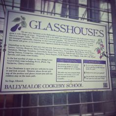 The Glasshouses - Ballymaloe Cookery School Ballymaloe Cookery School, Variety Of Fruits, Cooking School, Organic Farming, Glass House, Fruits And Vegetables, Sprouts, Certificate, House Of Glass