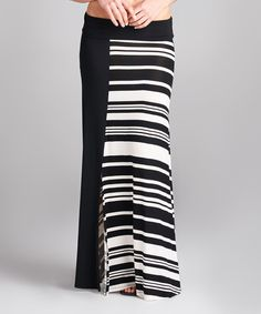 This Paolino Black & White Stripe Side-Slit Maxi Skirt by Paolino is perfect! #zulilyfinds