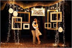 AYA: night photobooth. incorporate small christmas light and bigger ones/light bulbs. just change the picture frames
