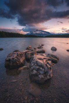 rocks - Visiting Two Jack Lake is a popular past time for tourists and local Banff residents alike due to its accessible location near Banff. Canadian Rockies, Banff, Worlds Of Fun, Past, National Parks, Scene, Canada, Popular, Explore