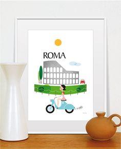 City Prints Rome, Travel Print, Illustration Coliseum, Retro poster, Poster bike, Size A4 or 8x10