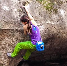 Akiko climbing with Blue Five Tooth Monster Chalk Bag by Crafty Climbing @craftyclimbing
