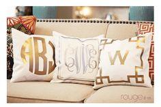 Monogrammed Metallic Pillow Cover 14x14 - Dixieland Monogram