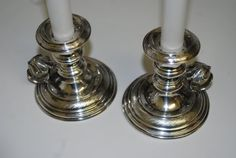Important 1856 Austrian Silver Chambersticks Sterling Candlestick