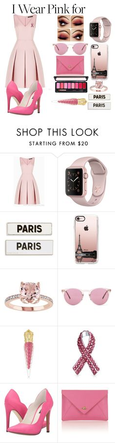 """WearPinkFor"" by belen-lillo ❤ liked on Polyvore featuring BCBGMAXAZRIA, Rosanna, Casetify, Oliver Peoples, Christian Louboutin, Bling Jewelry, Michael Antonio, Vivienne Westwood and IWearPinkFor"