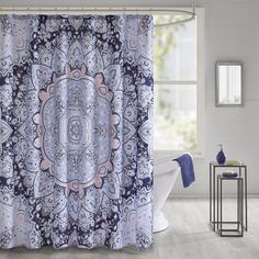 Intelligent Design Skye Printed Shower Curtain (72x72 - Blue), ID-Intelligent Designs - 72 x 72 (Polyester, Floral)