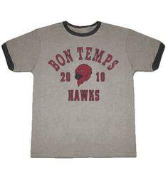 True Blood Bon Temps Football Ash Gray With Ringers T-shirt