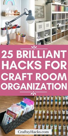 Craft spaces can easily become cluttered, get organized with these craft organization ideas. Give your craft room the diy organization it needs for a better work space. Sewing Room Storage, Craft Room Storage, Sewing Rooms, Storage Ideas, Craft Organisation, Paint Organization, Office Organization, Craft Shelves, Craft Shed
