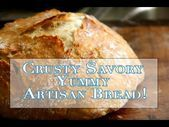 Savory Crusty Artisan Bread - No Knead and easy to make! Artisan Bread Recipes, Quick Bread Recipes, Cooking Recipes, Artisan Rolls, Bread Bun, Bread Rolls, Biscuit Bread, Baking Basics, No Knead Bread