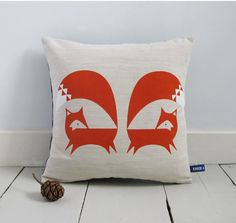 Hand Screen Printed Fox Cushion Cover in French Navy. via Etsy. Scatter Cushions, Throw Pillows, Printed Cushions, Fox Pillow, Pillow Fight, Quirky Gifts, Textiles, Fox Design, Pattern Design