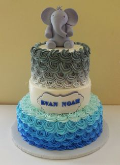 Baby Shower Cake Fondant Elephant Cake Topper Ombre Grey And Blue  Buttercream Rosettes