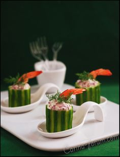 Shrimps cocktail with cucumber and cream cheese