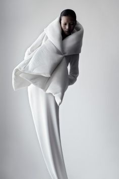 avant garde minimalist and structural couture suit White Nick Knight or Alexander McQueen, not sure how created this.