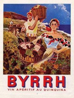 Original Vintage French Ad  Byrrh 1954