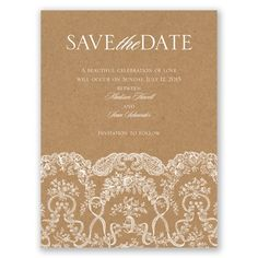 lace on kraft save the date card | romantic save the dates at Invitations By Dawn