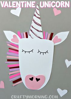 Valentine unicorn craft for the kids to make! Cute heart valentines day art project.