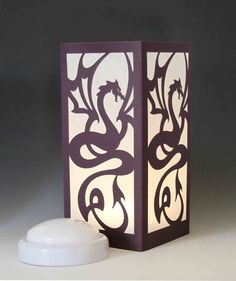 Dragon Laser cut Luminary Table Lamp Centerpiece - by StarrDesign on Etsy Table Lamp Wood, Wood Lamps, Table Lamps, Mood Light, Night Light, Art Deco Centerpiece, Dragon Crafts, Wooden Art, Exterior Lighting
