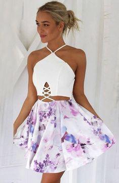A-Line Halter Criss-Cross Straps Flower Print Short White Satin Homecoming  Dress 95b0e7a1d9ed