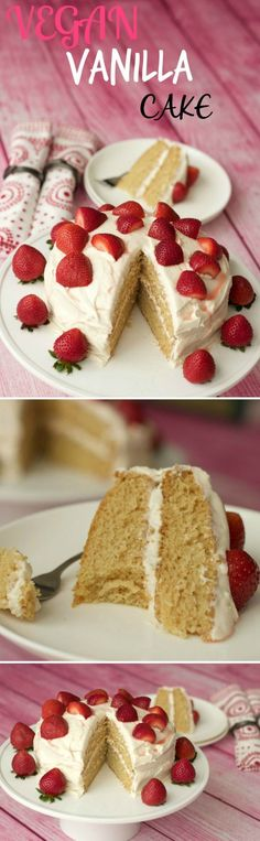 Vegan vanilla cake - light, fluffy and dreamy! vegan vegan c Healthy Vegan Dessert, Low Carb Dessert, Vegan Dessert Recipes, Vegan Treats, Delicious Vegan Recipes, Vegan Foods, Vegan Dishes, Dairy Free Recipes, Baking Recipes