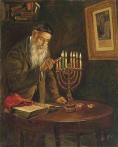 Victor Brindatch- Hannukah - Jewish Art Oil Painting
