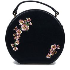 Black & Pink Floral Embroidered Handbag featuring polyvore women's fashion bags handbags clutches purses accessories black vintage style purses zipper purse circle purse pink purse banned purse