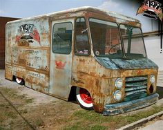 airbagged rat rod delivery truck