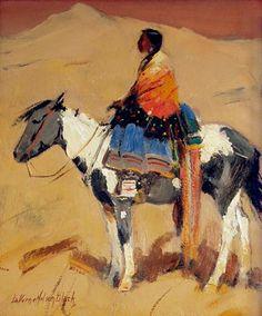 "Laverne Nelson Black, ""Untitled (Indian woman on horseback)"", oil, 1935"