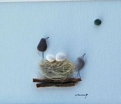 Pebble art birds, nest nest pebbles, egg bird pebble art, family birds, wedding gift, anniversary gift, housewarming, pebble picture