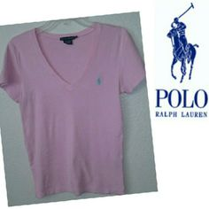 Ralph Lauren V neck Pretty in Pink Ralph Lauren short sleeve v neck top, pony is a pretty and modern sea foam green color  ....in time for the summer and ready to go from my closet to yours  ...This top is free from any stains or rips or fading it's in EXCELLENT CONDITION says Large but RL TENDS TOO RUN A BUT SMALL SO COULD BE A MED AS WELL Ralph Lauren Tops Tees - Short Sleeve