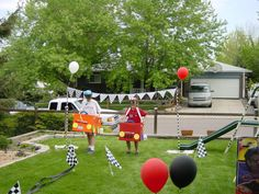 Race party - Kids decorate a team car and race through a outdoor track which includes a pit stop. Each player runs the track twice and must stop at the pit stop on second turn before switching drivers on their team.