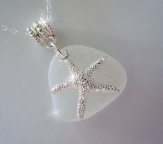 White Sea Glass with Starfish Necklace  by BeachGlassMemories, $24.98