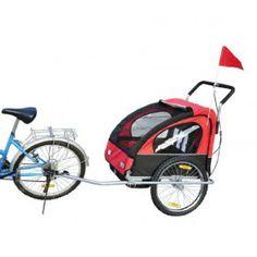 Remolque de Bicicleta 2 PLAZAS para Niños con Amortiguadores Kit de Footing Color Rojo