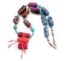 Exotic fiber necklace, Bijoux Textile, collar de fibra, necklace fiber, collana fibra, fabric necklace, Faser Halskette by Gilgulim on Etsy