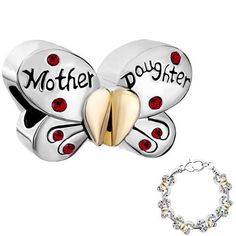 Silver Plated Mother Daughter Beads Compatible With Pandora Charms Bracelet