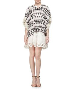 Tribal-Pattern Tweed Pullover & Crochet-Hem Voile Pullover Dress by Thakoon Addition at Neiman Marcus.