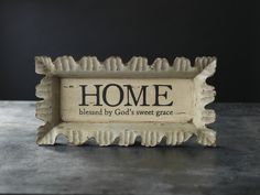 "Blessed Home Tray.  Hand-carved with a creamy distressed finish.  Message reads: HOME blessed by God's sweet grace.  Measures 19 1/2"" L x 9 3/4 W x 2"" H.Can order off my site mymaryandmartha.com/karataylor"
