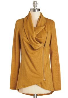 Airport Greeting Cardigan in Honey. Bracing yourself for a long day of travel, you take comfort in the fact that you'll be with friends and family by dinnertime, dressed comfortably in this goldenrod cardigan - an exclusive hue to ModCloth. #yellow #modcloth