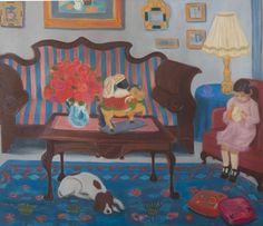 Margarita Lozano - Interior con niña cosiendo y perro, 1977