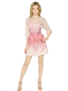 BLUMARINE - PETAL PRINTED SILK ORGANZA DRESS - LUISAVIAROMA - LUXURY SHOPPING WORLDWIDE SHIPPING - FLORENCE