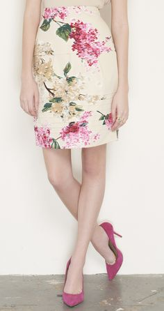 Lela Rose Beige, Pink, And Multicolor Skirt