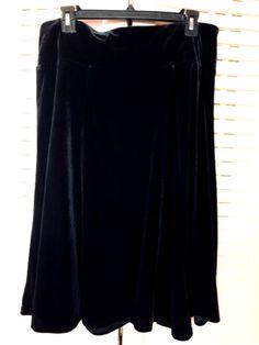 Susan Graver A228290 Black Velvet Knee Length Skirt Sz M | eBay
