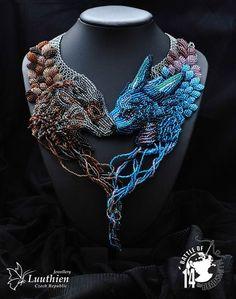 Lucie Luuthien - Grey Wind and Meraxes Jewelry Art, Beaded Jewelry, Handmade Jewelry, Jewellery, Beaded Necklace, Bead Embroidery Jewelry, Beaded Embroidery, Dragon Jewelry, Beaded Animals
