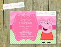 Peppa Pig Birthday Invitation - Photo - Custom Colors Available - Printable