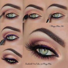 Beautiful Pink Purple Eyeshadow look for green eyes. One of my all-time favorite looks! ♥
