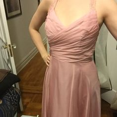 """B2 Jasmine formal dress US size 12 Bridesmaids style dress USA size 12, rose pink color, only worn once, alterations were made to take bust in 1-2 inches still big on me and I wear 34C bra size, good length on me I am 5'9"""" and it stops just above my knee, beautiful lace straps and back. Dresses"""