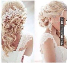 Floral Fancy Braut Kopfschmuck Haarschmuck Designs, Half-Up-Half-Wedding-Frisuren-mit-Braut-Haar-Accessoires , Hochzeit Frisuren Wedding Hairstyles For Long Hair, Wedding Hair And Makeup, Wedding Beauty, Bride Hairstyles, Pretty Hairstyles, Hair Makeup, Hairstyle Ideas, Hair Wedding, Perfect Hairstyle
