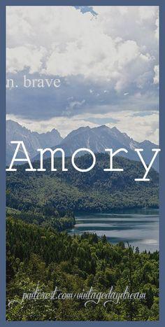 Baby Boy Name: Amory (am-er-ee or aim-er-ee). Meaning: Brave. Origin: Old German. https://www.pinterest.com/vintagedaydream/baby-names-by-me-vintagedaydream/?eq=baby&etslf=3176